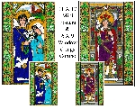 Stained Glass Saints for March Window Cling Combo Set
