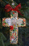 Antique Christmas Assemblage Cross Christmas Ornament