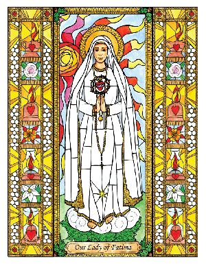Our Lady of Fatima 6x9 Window Cling