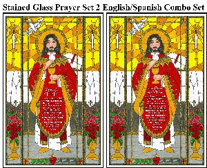 Stained Glass Prayer Set 2 - English/Spanish Combo