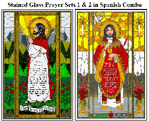 Stained Glass Prayer Sets 1 & 2 - Spanish Combo